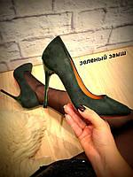 Туфли лодочки зеленые замшевые Классика код 2331