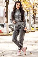 Женский модный теплый вязаный костюм: свитер под горло и брюки шерсть и кашемир (2 цвета)