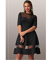 Черное платье батал со вставками из сетки ПБ-101