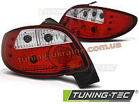 Задние фонари на Peugeot 206 1998-2012 красно-белые