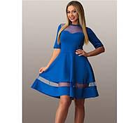 Синее платье батал со вставками из сетки ПБ-102