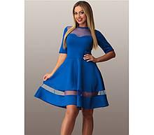 Синє плаття батал зі вставками із сітки ПБ-102