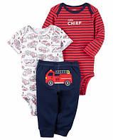 Carters Комплект бодики с коротким и длинным рукавом и штанишки Пожарная машина красный