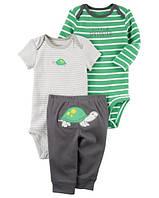 Carters Комплект бодики с коротким и длинным рукавом и штанишки Черепаха