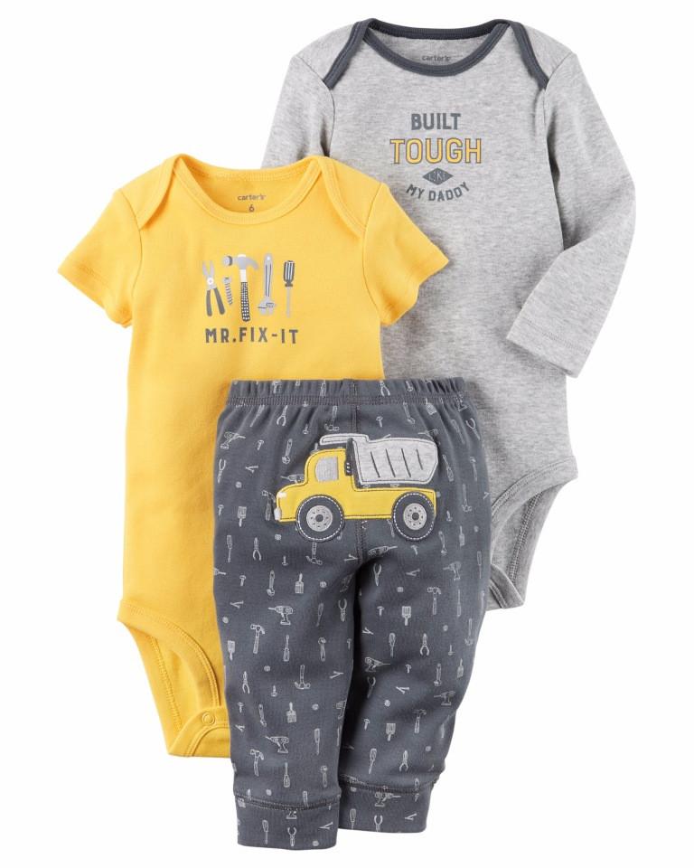 Carters Комплект бодики с коротким и длинным рукавом и штанишки Грузовик желтый