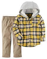 Carters Комплект для мальчика рубашка клетка с капюшоном штаны 18 М