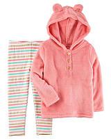 Carters Костюм для девочки кофта флисовая лосины полоска розовый