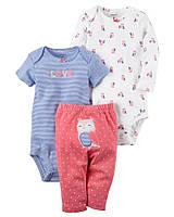 Carters Комплект бодики с коротким и длинным рукавом и штанишки Сова розовый