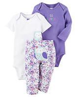 Carters Комплект бодики с коротким и длинным рукавом и штанишки Сова сиреневый