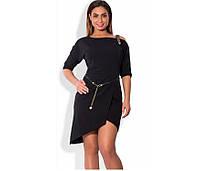 Черное платье батал мини с декоративной лямкой и поясом ПБ-104, фото 1