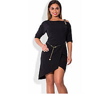 Чорне плаття батал міні з декоративною лямкою та поясом ПБ-104
