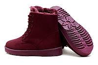 Ботинки зимние бордо на шнурках женские