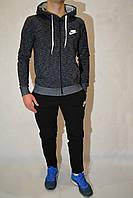 Размеры:44,46,48 - Утепленный спортивные костюмы мужские Nike (найк) - на змейке с капюшоном - серый/чёрный