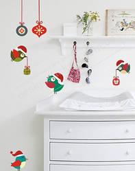 """Новорічна наклейка на стіну """"Різдвяні пташки"""""""
