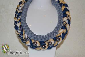 Колье коса ручная робота Колье кисть ,кисточка, авторское украшение буси серое синие кремовое мультиколор