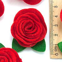 (5шт) Заготовка из фетра Роза объемная красная Размер 3х3см