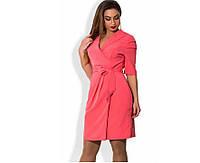 Коралловое платье на запах с брошкой размеры от 48 ПБ-106