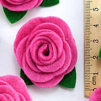 (5шт) Заготовка из фетра Роза объемная малиновый Размер 3х3см