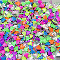 Металлостразы,форма сердечки.Цвет-Неоновый микс 4х4мм.Цена за 100шт