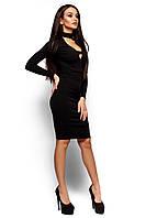 """Элегантное коктейльное платье обтягивающего силуэта Монро черное """"KR"""""""
