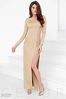 Откровенное вечернее платье. Цвет кремовый.