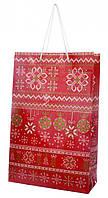 Пакет подарочный новогодний красный стиль узоры, Красный, 38x24x10 см