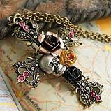 Подвеска крест с цветами и черепом готика, фото 2