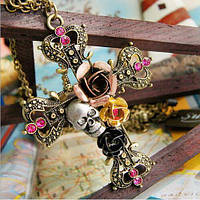 Подвеска крест с цветами и черепом