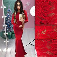 Шикарное платье в пол со вставками кружева в расцветках АМС-1712.073(2), фото 1