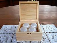 Заготовка новогоднего набора №1. Деревянная шкатулка размером 150*150 мм под шары 60 мм 4 шт .