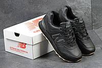 New Balance 574 мужские кроссовки кожаные черные