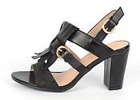 """Босоножки женские черные на широком каблуке """"Bershka"""" с бахромой, Черный, 41"""