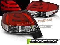 Задние фонари на PEUGEOT 206 1998-2012 красно-белые HATCHBACK