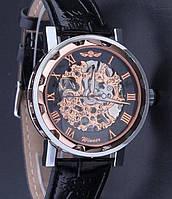 Часы мужские механические WINNER Skeleton с черным циферблатом