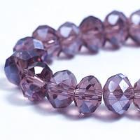 Бусины хрустальные Жемчужный блеск, гальваническое стекло 8х6мм, граненые, рондель, цвет пурпурный УТ0030878