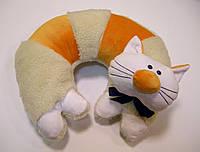 Декоративная подушка-игрушка для шеи Кот из овчины, фото 1