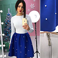 Красивое платье с неопрена на юбке жемчуг BER-002.1712.003(3)