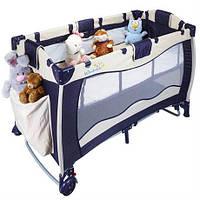 Манеж - кровать Wonderkids DreemPlay (синий/бежевый) WK22-H86-001