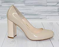 Стильные туфли-лодочки.Устойчивый каблук.  Натуральная кожа. 1564