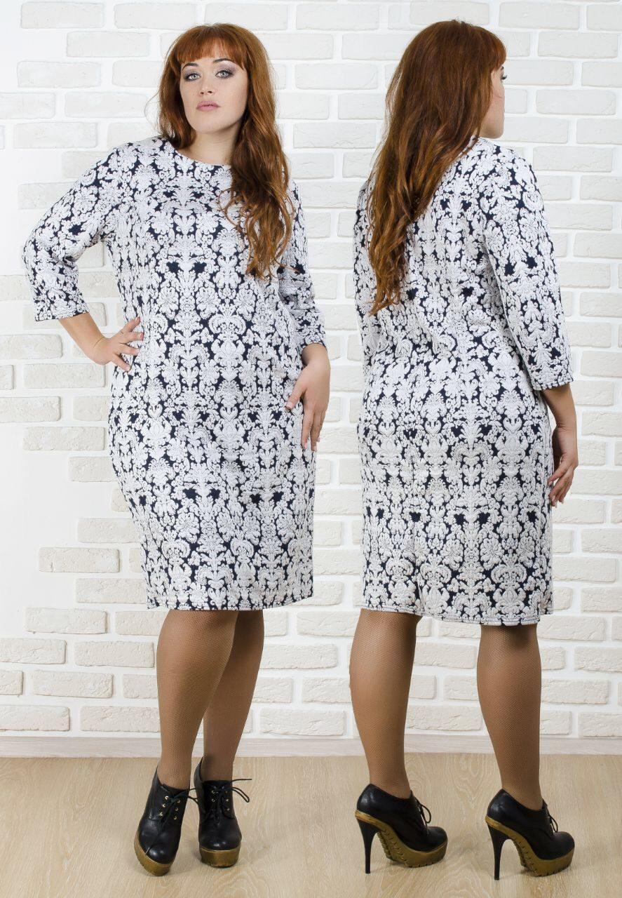 """Уютное женское платье ткань """"Стеганый трикотаж"""" Ч-Б 50, 52, 54, 56 размер батал"""