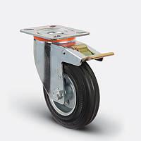 Профессиональное поворотное колесо с тормозом для тележек диаметром 150 мм из стандартной черной резины