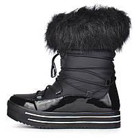 Сапоги женские зимние дутики на платформе черные