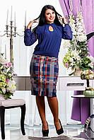 Женское платье женское из костюмной шерстяной ткани и шифона, фото 1