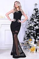Вечернее платье в пол с сеткой, материал - трикотаж, цвет - черный