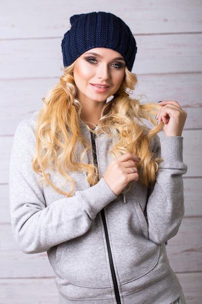 В'язана молодіжна темно-синя шапка Yana