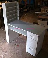 Стационарный маникюрный стол, однотумбовый с полкой для лаков. Модель V60 белый, фото 1