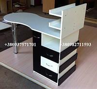 Складной маникюрный стол с ящиком карго. Модель V61 белый / черный, фото 1
