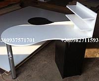 Маникюрный стол со шкафчиком. Модель V62 белый / черный, фото 1