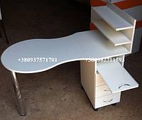 Складной маникюрный стол, маникюрный стол с выдвижной полкой. Модель V63 белый, фото 1