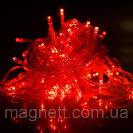 Гирлянда электрическая светодиодная LED 100 лампочек красный